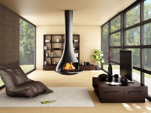 contemporary hanging fireplace wood burning open hearth